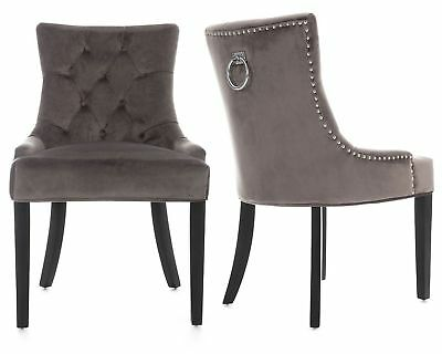 Grey Velvet Scoop Button Back Dining Chairs Black Legs ...
