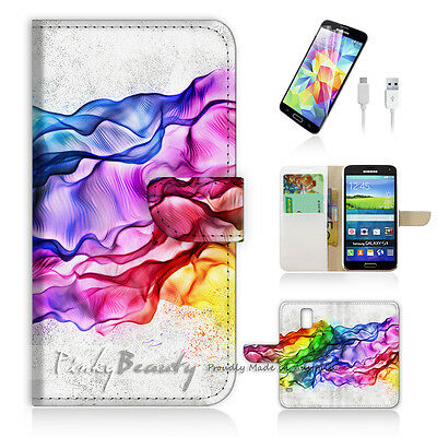( For Samsung S5 ) Wallet Case Cover! Abstract Smoke P0160