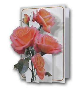 Image Is Loading Pictoria Press 3D Pop Up Greeting Card Roses