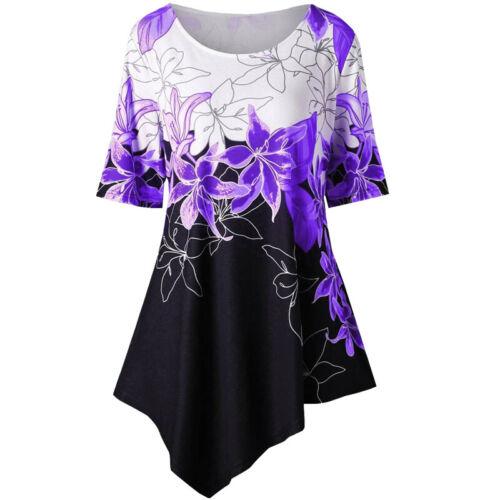 Damen Geblümt Locker Sommer Tunika Bluse Tops Shirts Oberteile Hemd Longbluse 48