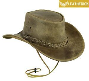 Australian-Western-Style-Crazy-Horse-Cowboy-Real-Leather-Bush-Hat-rare-colour