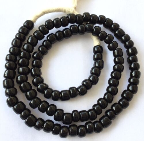Fine Opaque Black Pony Bohemian glass African trade beads