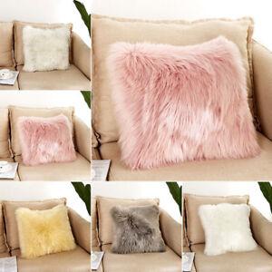 UK Soft Plush Square Pillow Case Sofa Waist Throw Cushion Cover Home Decor ##