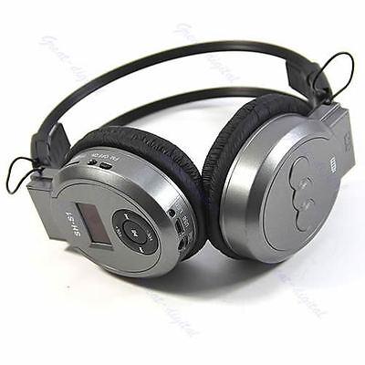 LCD Sport MP3 Player Foldable Wireless Headphone Headset FM Radio TF Card Gray