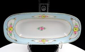Nippon-Japon-Jaune-amp-Rose-Roses-Bleu-Bordure-Bande-Ovale-21cm-Relish-Plat-1911