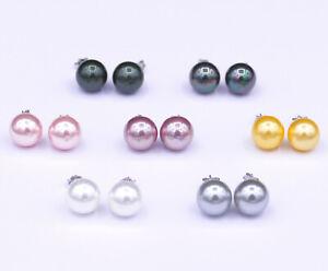 Perlen-Ohrstecker-Ohrsticks-aus-echt-925-Sterlingssilber-8-10-12-mm-7-Farben