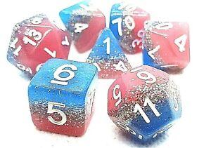 RPG-Wuerfel-Set-7-teilig-Poly-DND-Rollenspiel-Pink-W4-W20-Tabletop-dice4friends