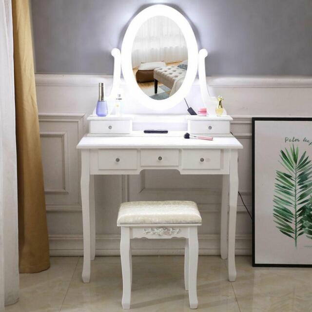 Vanity Makeup Dressing Table Set Mirror Desk Dresser W Stool
