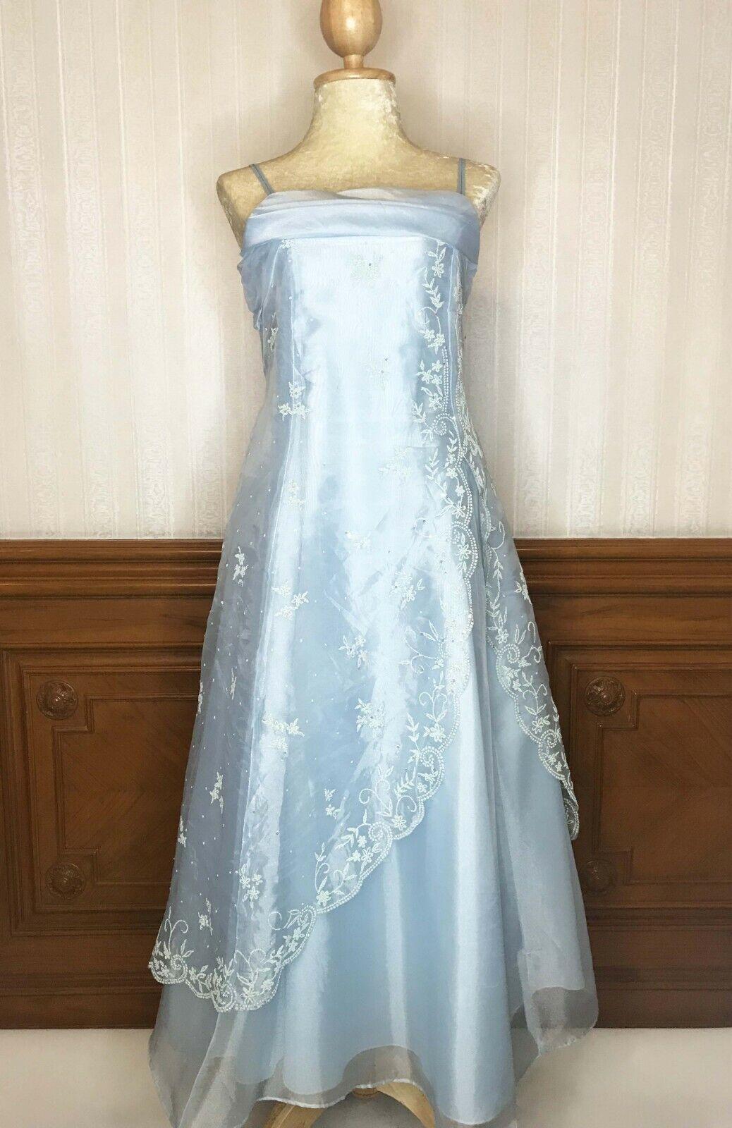 Vintage Spaghetti Strap Long Sheer Prom Party Formal Dress Blue 15/16 Sz USA