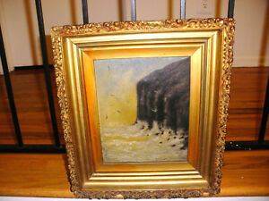 Nice-antique-impressionist-oil-on-canvas-painting-seascape-by-artist-M-A-Turner