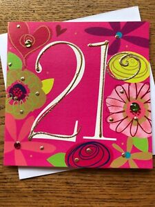 Happy 21st birthday card pink gold sparkle jewels quality  Belly Button (A531)