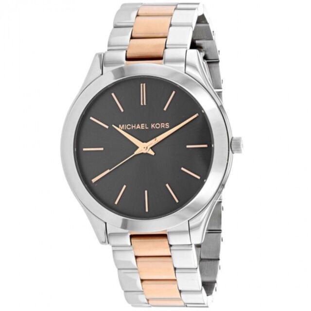 Michael Kors Slim Runway Silver Rose Gold 2 Tone 42mm Bracelet Watch Mk3713