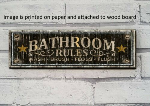 Bathroom Rules Wood Sign Shelf Sitter This Is A PRINT Farmhouse  Decor Vintage