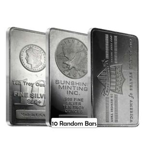 Lot of 10 - 10 oz Generic Silver Bar .999 Fine