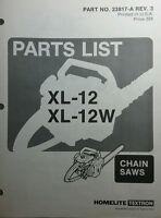 Homelite Xl-12 & Xl-12w Chain Saw Parts Manual 12pg Chainsaw