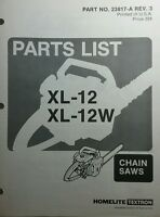 Homelite Xl-12 & Xl-12w Chain Saw Parts Manual 12pg Chainsaw