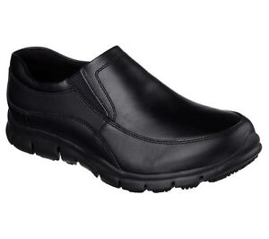 Work Black Skechers Shoes Women Memory Foam 76560 Slip Resistant Leather Loafer