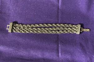 Vintage-Monet-Silver-Tone-Double-Link-3-Strand-Chain-Bracelet