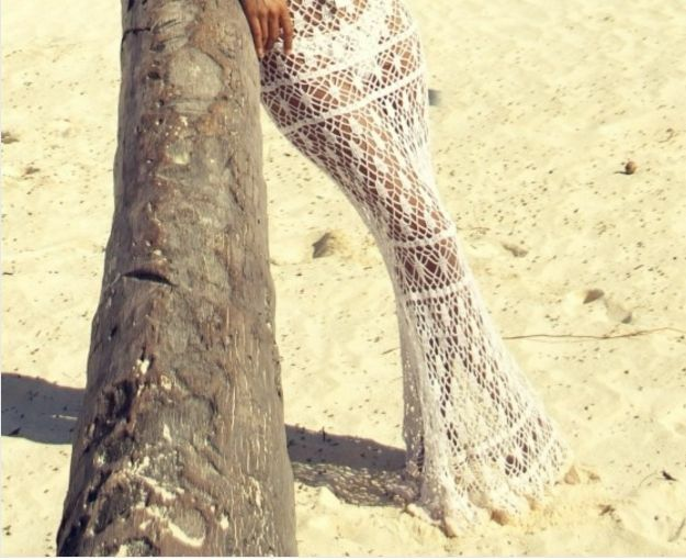 Beautiful Anna Kosturova Crochet white Maxi Skirt Size S RP  222