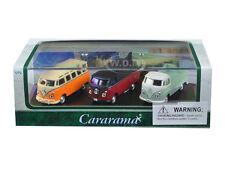 VOLKSWAGEN BUS 3pc SET IN DISPLAY CASE 1/72 DIECAST CAR MODELS CARARAMA 71308