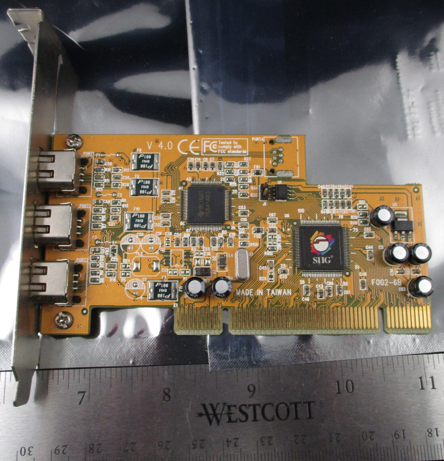 SIIG FireWire 3-Port PCI Adapter Card Three External IEEE 1394 Port F002-68