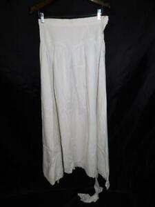 Antique M White Woven Cotton Petticoat Skirt Slip A Line Long Eyelet Trim Hem