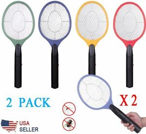 2X High-voltage Electric Fly Swatter Handheld Mosquito Racket Bug Zapper Killer