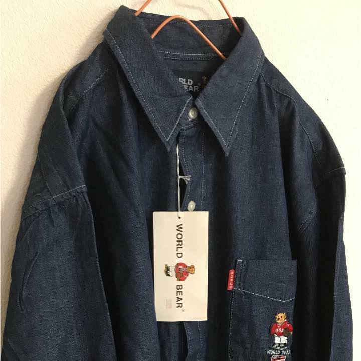 World Bear Denim Shirt Men 90's L German Embroidered BD Casual From Japan F S