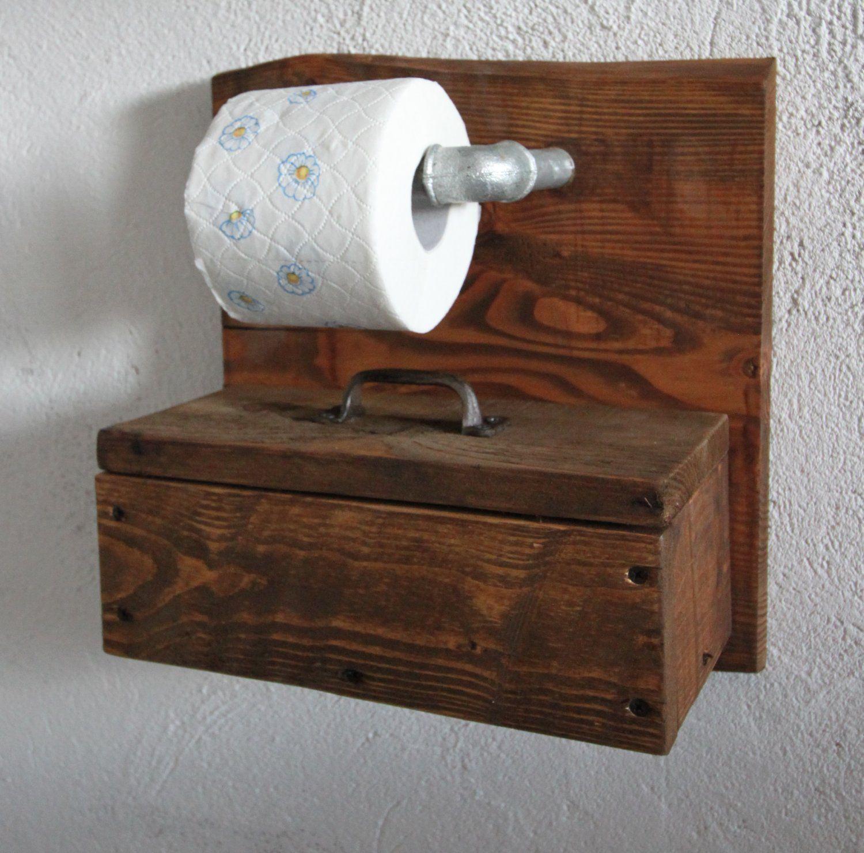 Toilettenpapierhalter WC Papier Rollenhalter Holz Box für Feuchttücher braun