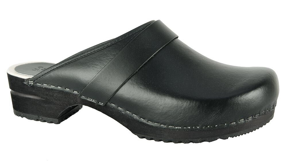 Sanita RALPH OPEN Clogs Holzclogs Leder schwarz black PU Leather Leder Holzclogs 1500199M NEU 553c6f