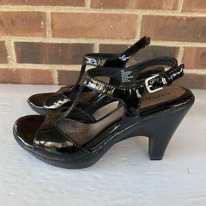EuroSoft-black-leather-t-strap-Platform-sandals-Size-US-6-5-M-Nearly-New