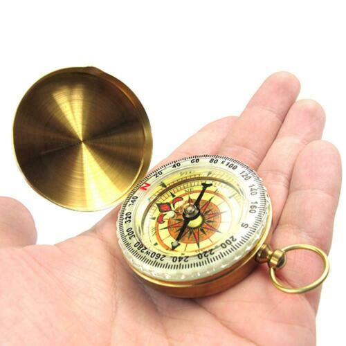 Outdoor Messing Taschen Uhr Kompass Camping Wandern Schlüsselbund wasserdicht 3