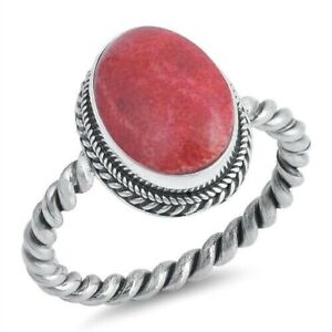 Ring-Genuine-Sterling-Silver-925-Coral-Jewelry-Gift-Face-Height-17-mm-Size-8