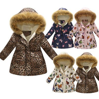 Toddler Baby Girl Winter Warm Coat Kids Thick Hooded Windproof Jacket Outwear AE