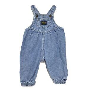 Osh Kosh VINTAGE Baby B'Gosh Girl 6 9 Mos Pleated Vestback Denim Overalls USA