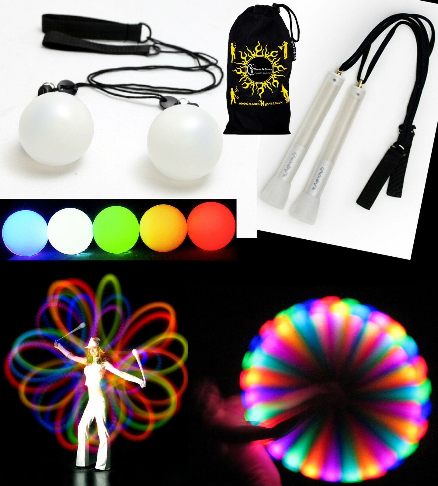 Pro LED Glow Poi Sets - leuchtend Übungs Leuchtende Poi Spinning Sets