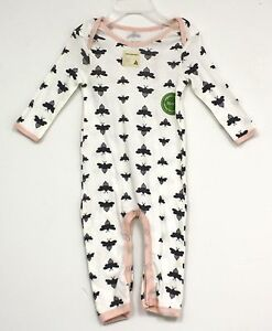 9ff0aefe4f4 Burts Bees Baby One Piece Outfit Cream with bees all over pink trim ...