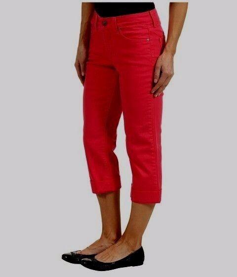 NYDJ Not Your Daughter Jean Alyssia Rhinestone cuff crop capri Poppy red 10P 12P