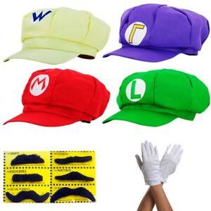 Super-Mario-Muetze-Kostuem-Karneval-Fasching-Cap-Handschuhe-Erwachsene-Cosplay-Hut