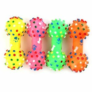 Small-Puppy-Polka-Dot-Squeaker-Pet-Sound-Dog-Cat-Rubber-Dumbbell