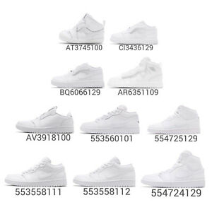 2eaf6acb5481 Nike Air Jordan 1 Low Mid Trible White AJ1 I Men Women Kids Baby TD ...