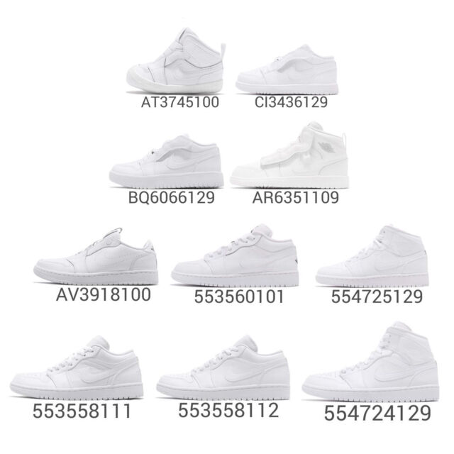 best website fbf8d d5f1c Nike Air Jordan 1 Low Mid Trible White AJ1 I Men Women Kids Baby TD Shoes  Pick 1