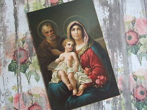 Antique-Vintage-Catholic-Print-Picture-HOLY-FAMILY-1930-039-s-from-Switzerland