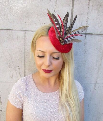 Red Velvet Brown Pheasant Statement Feather Fascinator Hair Clip Hat Races 2409