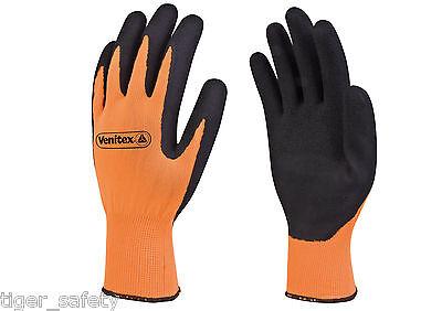 x2 Pairs Delta Plus Venitex VV733OR Apollon High Visibility Orange Work Gloves