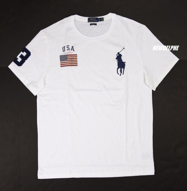 Polo Ralph Lauren Mens USA Flag Big Pony Crewneck T Shirt Custom Fit White  L for sale online  87f7d88cb6ff
