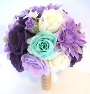 17 pc Wedding Bouquet Bridal Silk flowers PURPLE LAVENDER DARK MINT ...