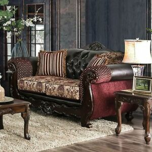 Image Is Loading Antique Formal Traditional Burgundy Sofa Loveseat 2pc Set