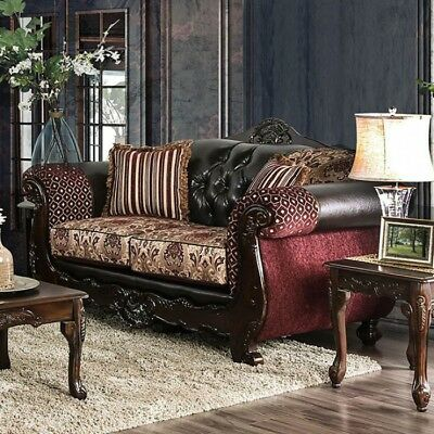 Antique Formal Traditional Burgundy Sofa Loveseat 2pc Set Tufted Cushion  Couch | eBay