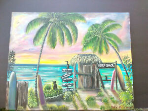 Original-Acrylic-Painting-Beach-Surf-Shack-16x20-Stretched-Canvas-Surfing-Art